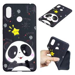 Cute Bear 3D Embossed Relief Black TPU Cell Phone Back Cover for Xiaomi Mi Max 3