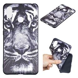White Tiger 3D Embossed Relief Black TPU Cell Phone Back Cover for Xiaomi Mi Max 3