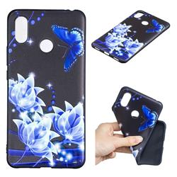 Blue Butterfly 3D Embossed Relief Black TPU Cell Phone Back Cover for Xiaomi Mi Max 3