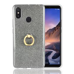 Luxury Soft TPU Glitter Back Ring Cover with 360 Rotate Finger Holder Buckle for Xiaomi Mi Max 3 - Black