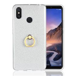 Luxury Soft TPU Glitter Back Ring Cover with 360 Rotate Finger Holder Buckle for Xiaomi Mi Max 3 - White