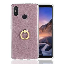 Luxury Soft TPU Glitter Back Ring Cover with 360 Rotate Finger Holder Buckle for Xiaomi Mi Max 3 - Pink