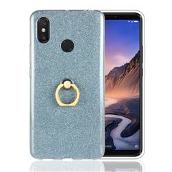 Luxury Soft TPU Glitter Back Ring Cover with 360 Rotate Finger Holder Buckle for Xiaomi Mi Max 3 - Blue