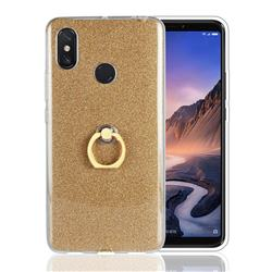 Luxury Soft TPU Glitter Back Ring Cover with 360 Rotate Finger Holder Buckle for Xiaomi Mi Max 3 - Golden