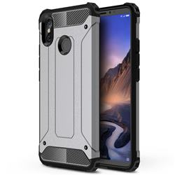 King Kong Armor Premium Shockproof Dual Layer Rugged Hard Cover for Xiaomi Mi Max 3 - Silver Grey