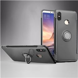 Armor Anti Drop Carbon PC + Silicon Invisible Ring Holder Phone Case for Xiaomi Mi Max 3 - Grey