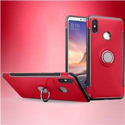 Armor Anti Drop Carbon PC + Silicon Invisible Ring Holder Phone Case for Xiaomi Mi Max 3 - Red