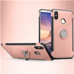 Armor Anti Drop Carbon PC + Silicon Invisible Ring Holder Phone Case for Xiaomi Mi Max 3 - Rose Gold