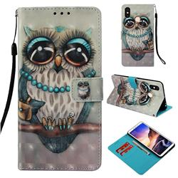 Sweet Gray Owl 3D Painted Leather Wallet Case for Xiaomi Mi Max 3