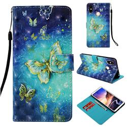 Gold Butterfly 3D Painted Leather Wallet Case for Xiaomi Mi Max 3