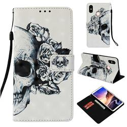 Skull Flower 3D Painted Leather Wallet Case for Xiaomi Mi Max 3