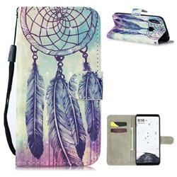 Feather Wind Chimes 3D Painted Leather Wallet Phone Case for Xiaomi Mi Max 3