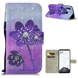 Purple Flower 3D Painted Leather Wallet Phone Case for Xiaomi Mi Max 3