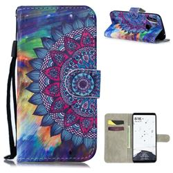 Oil Painting Mandala 3D Painted Leather Wallet Phone Case for Xiaomi Mi Max 3