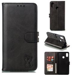 Embossing Happy Cat Leather Wallet Case for Xiaomi Mi Max 3 - Black