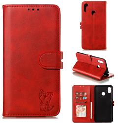 Embossing Happy Cat Leather Wallet Case for Xiaomi Mi Max 3 - Red