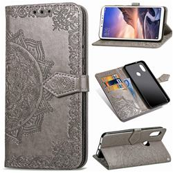 Embossing Imprint Mandala Flower Leather Wallet Case for Xiaomi Mi Max 3 - Gray