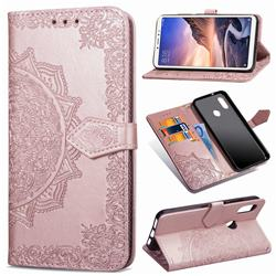 Embossing Imprint Mandala Flower Leather Wallet Case for Xiaomi Mi Max 3 - Rose Gold