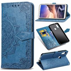 Embossing Imprint Mandala Flower Leather Wallet Case for Xiaomi Mi Max 3 - Blue