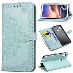 Embossing Imprint Mandala Flower Leather Wallet Case for Xiaomi Mi Max 3 - Green