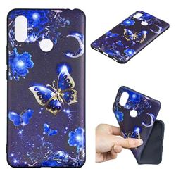 Phnom Penh Butterfly 3D Embossed Relief Black TPU Cell Phone Back Cover for Xiaomi Mi Max 3 Pro
