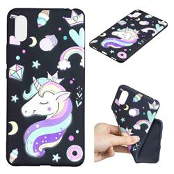 Candy Unicorn 3D Embossed Relief Black TPU Cell Phone Back Cover for Xiaomi Mi Max 3 Pro
