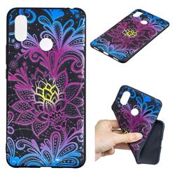 Colorful Lace 3D Embossed Relief Black TPU Cell Phone Back Cover for Xiaomi Mi Max 3 Pro