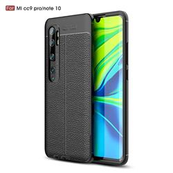 Luxury Auto Focus Litchi Texture Silicone TPU Back Cover for Xiaomi Mi Note 10 / Note 10 Pro / CC9 Pro - Black