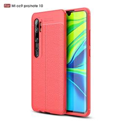 Luxury Auto Focus Litchi Texture Silicone TPU Back Cover for Xiaomi Mi Note 10 / Note 10 Pro / CC9 Pro - Red