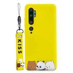 Yellow Bear Family Soft Kiss Candy Hand Strap Silicone Case for Xiaomi Mi Note 10 / Note 10 Pro / CC9 Pro