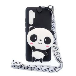 White Panda Neck Lanyard Zipper Wallet Silicone Case for Xiaomi Mi Note 10 / Note 10 Pro / CC9 Pro