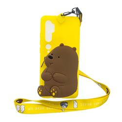 Yellow Bear Neck Lanyard Zipper Wallet Silicone Case for Xiaomi Mi Note 10 / Note 10 Pro / CC9 Pro