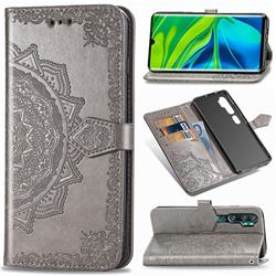 Embossing Imprint Mandala Flower Leather Wallet Case for Xiaomi Mi Note 10 / Note 10 Pro / CC9 Pro - Gray