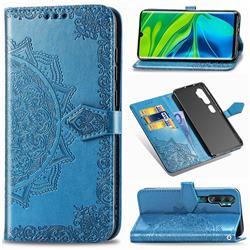 Embossing Imprint Mandala Flower Leather Wallet Case for Xiaomi Mi Note 10 / Note 10 Pro / CC9 Pro - Blue