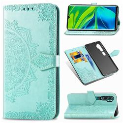Embossing Imprint Mandala Flower Leather Wallet Case for Xiaomi Mi Note 10 / Note 10 Pro / CC9 Pro - Green