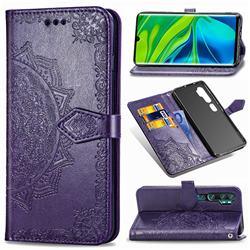 Embossing Imprint Mandala Flower Leather Wallet Case for Xiaomi Mi Note 10 / Note 10 Pro / CC9 Pro - Purple
