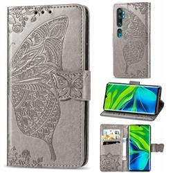 Embossing Mandala Flower Butterfly Leather Wallet Case for Xiaomi Mi Note 10 / Note 10 Pro / CC9 Pro - Gray