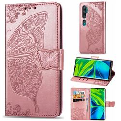 Embossing Mandala Flower Butterfly Leather Wallet Case for Xiaomi Mi Note 10 / Note 10 Pro / CC9 Pro - Rose Gold