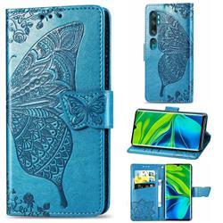 Embossing Mandala Flower Butterfly Leather Wallet Case for Xiaomi Mi Note 10 / Note 10 Pro / CC9 Pro - Blue