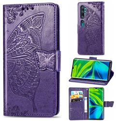 Embossing Mandala Flower Butterfly Leather Wallet Case for Xiaomi Mi Note 10 / Note 10 Pro / CC9 Pro - Dark Purple