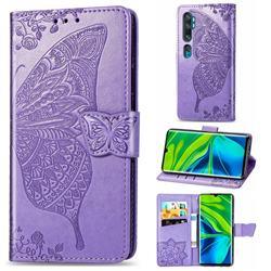 Embossing Mandala Flower Butterfly Leather Wallet Case for Xiaomi Mi Note 10 / Note 10 Pro / CC9 Pro - Light Purple