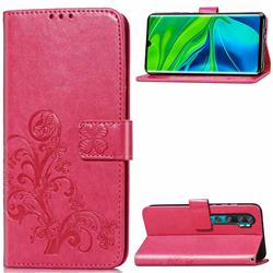 Embossing Imprint Four-Leaf Clover Leather Wallet Case for Xiaomi Mi Note 10 / Note 10 Pro / CC9 Pro - Rose