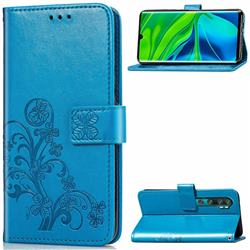 Embossing Imprint Four-Leaf Clover Leather Wallet Case for Xiaomi Mi Note 10 / Note 10 Pro / CC9 Pro - Blue