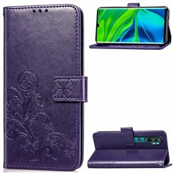 Embossing Imprint Four-Leaf Clover Leather Wallet Case for Xiaomi Mi Note 10 / Note 10 Pro / CC9 Pro - Purple