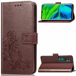 Embossing Imprint Four-Leaf Clover Leather Wallet Case for Xiaomi Mi Note 10 / Note 10 Pro / CC9 Pro - Brown