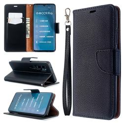 Classic Luxury Litchi Leather Phone Wallet Case for Xiaomi Mi Note 10 / Note 10 Pro / CC9 Pro - Black