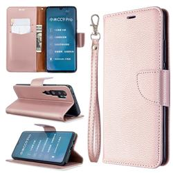 Classic Luxury Litchi Leather Phone Wallet Case for Xiaomi Mi Note 10 / Note 10 Pro / CC9 Pro - Golden