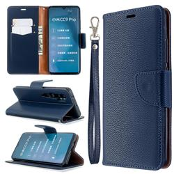 Classic Luxury Litchi Leather Phone Wallet Case for Xiaomi Mi Note 10 / Note 10 Pro / CC9 Pro - Blue