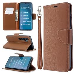 Classic Luxury Litchi Leather Phone Wallet Case for Xiaomi Mi Note 10 / Note 10 Pro / CC9 Pro - Brown