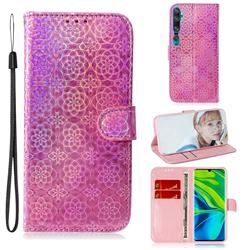 Laser Circle Shining Leather Wallet Phone Case for Xiaomi Mi Note 10 / Note 10 Pro / CC9 Pro - Pink